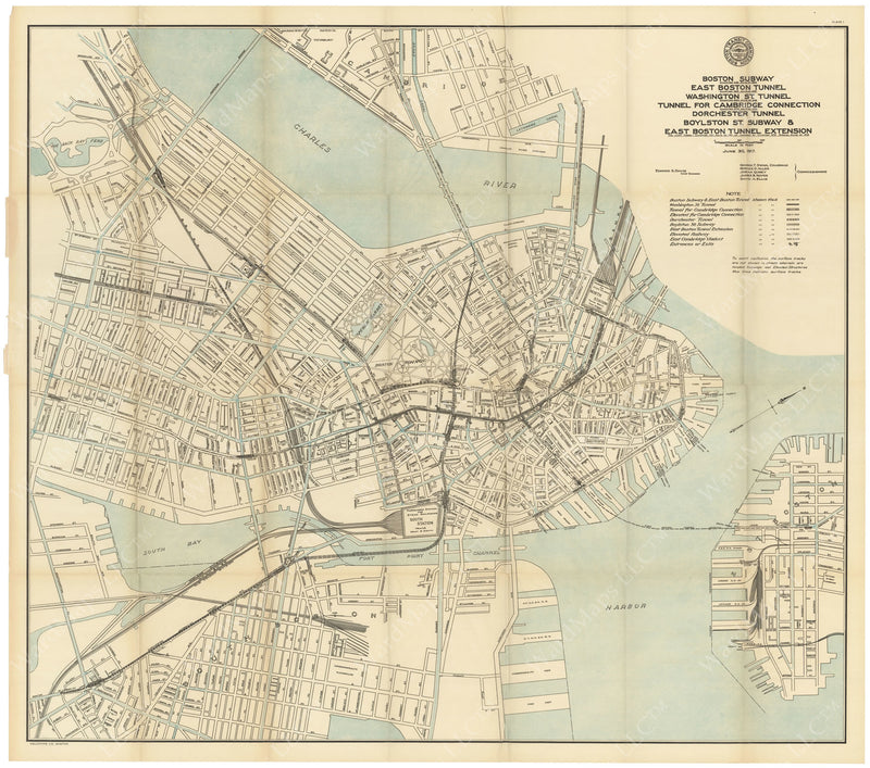 BTC Annual Report 23, 1917 Plate 01: Boston Transit Map