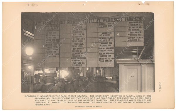 BTC Annual Report 05, 1899 Plate 01: Park Street Station Indicator Board