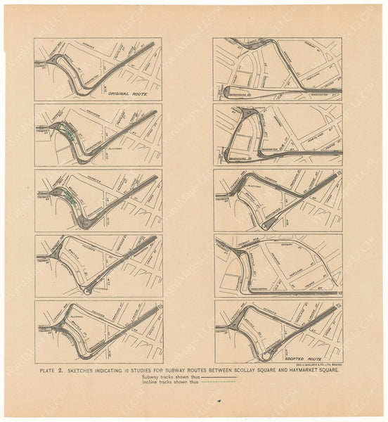 BTC Annual Report 02, 1896 Plate 02: Subway Studies for Route Between Scollay and Haymarket Squares