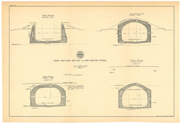 BTC Annual Report 06, 1900 Plate 02: East Boston Tunnel Sections at E Boston