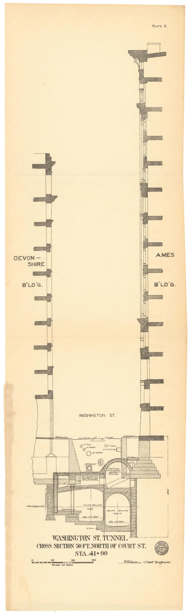 BTC Annual Report 12, 1906 Plate 03: Tunnel Cross Section at Ames Building