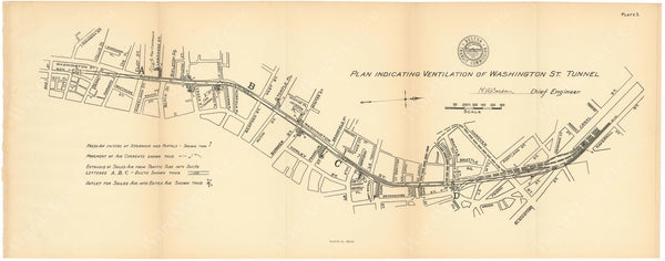 BTC Annual Report 12, 1906 Plate 03: Washington Street Tunnel Ventilation Plan