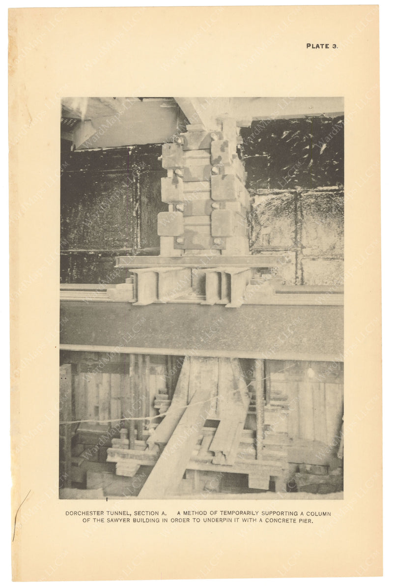 BTC Annual Report 19, 1913 Plate 03: Dorchester Tunnel, Pier Support