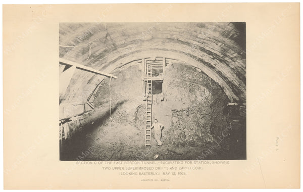 BTC Annual Report 09, 1903 Plate 03: Excavating for Downtown Station on East Boston Tunnel