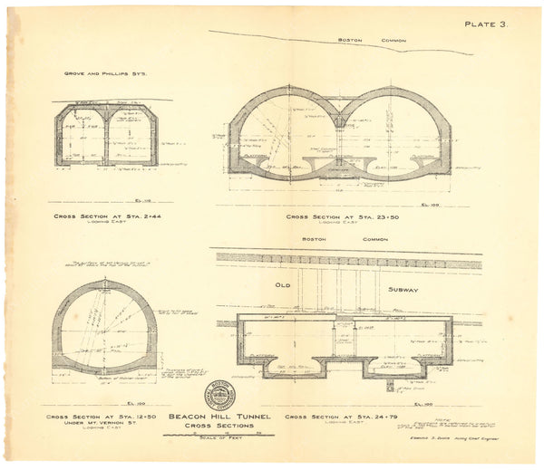 BTC Annual Report 16, 1910 Plate 03: Beacon Hill Tunnel Cross Sections