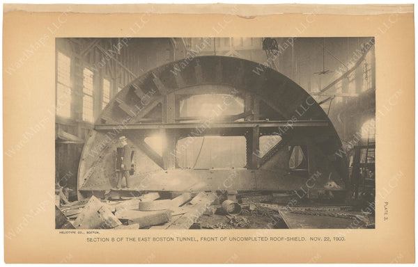 BTC Annual Report 07, 1901 Plate 03: East Boston Tunnel, Roof Shield