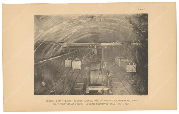 BTC Annual Report 08, 1902 Plate 03: East Boston Tunnel Excavation Cars