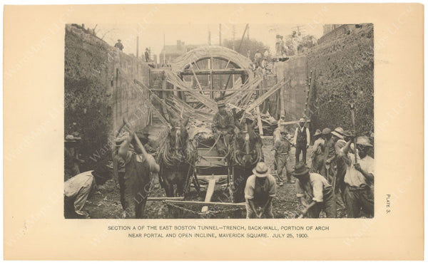 BTC Annual Report 06, 1900 Plate 03: East Boston Tunnel Trench at Maverick Square
