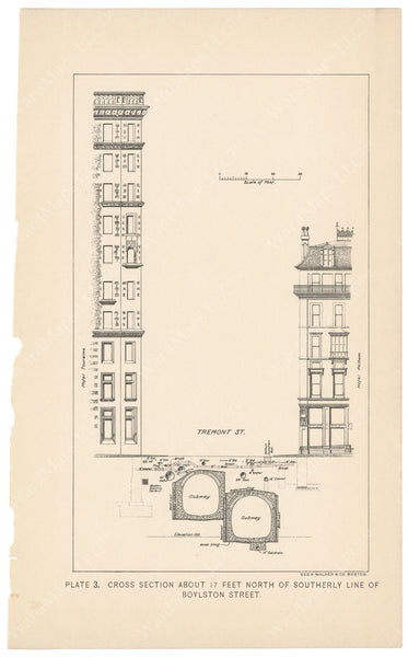 BTC Annual Report 04, 1898 Plate 03: Subway Cross Section, Tremont at Boylston Streets