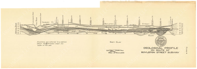 BTC Annual Report 20, 1914 Plate 04: Boylston Street Subway, Geological Profile