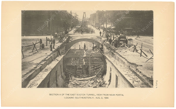 BTC Annual Report 06, 1900 Plate 04: East Boston Tunnel Trench, Looking to Southeast