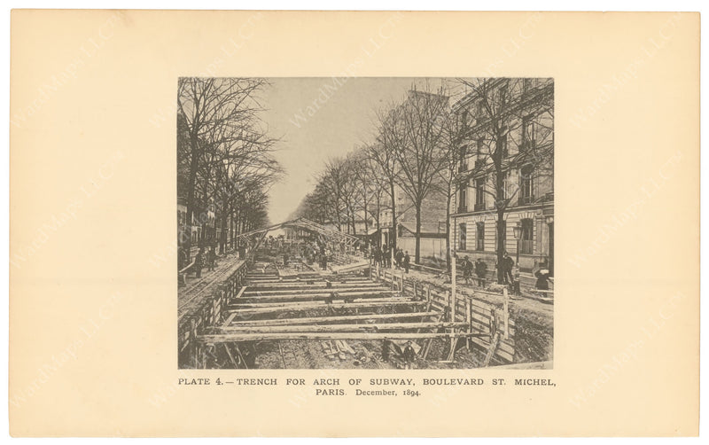 BTC Annual Report 02, 1896 Plate 04: Paris Subway, Trench at Boulevard St. Michel