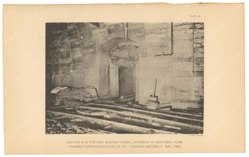 BTC Annual Report 08, 1902 Plate 04: East Boston Tunnel, Pump Chamber Entrance