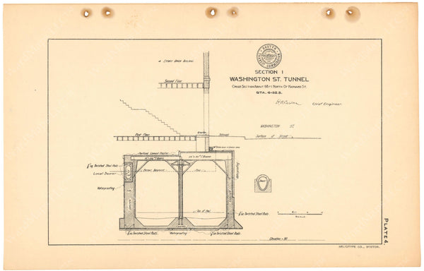 BTC Annual Report 11, 1905 Plate 04: Washington Street Tunnel Cross Section Near Harvard Street