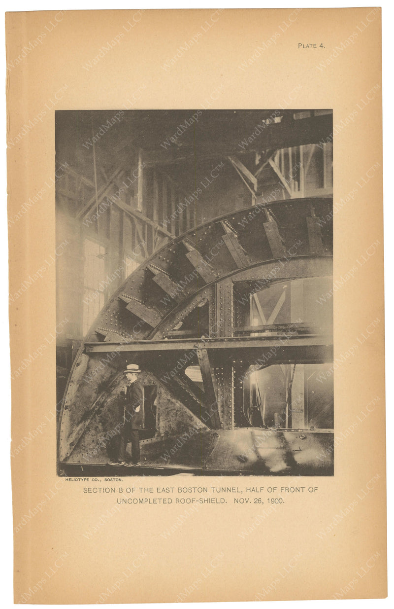 BTC Annual Report 07, 1901 Plate 04: East Boston Tunnel, Roof Shield Front