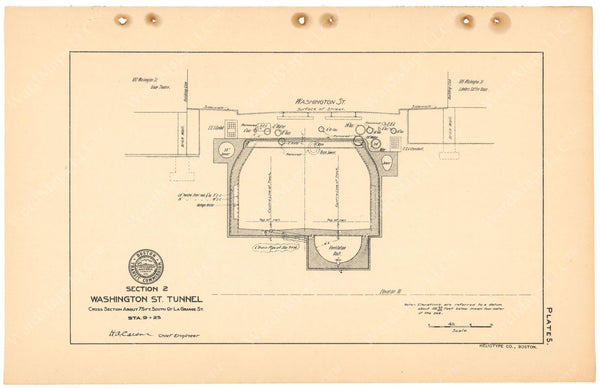 BTC Annual Report 11, 1905 Plate 05: Washington Street Tunnel Cross Section Near Lagrange Street