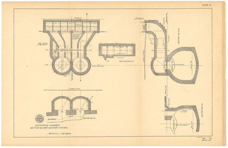 BTC Annual Report 10, 1904 Plate 05: East Boston Tunnel Ventilating Chamber