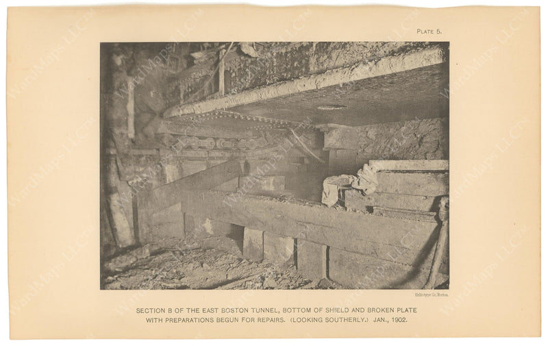 BTC Annual Report 08, 1902 Plate 05: East Boston Tunnel, Roof Shield Repairs