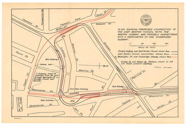BTC Annual Report 05, 1899 Plate 05: Proposed East Boston Tunnel Connection with Tremont Street Subway