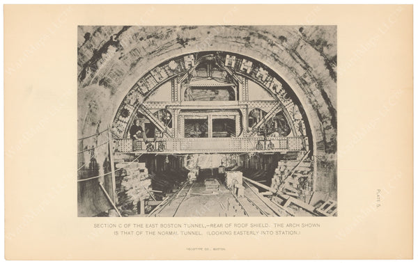 BTC Annual Report 09, 1903 Plate 05: East Boston Tunnel, Rear of Roof Shield