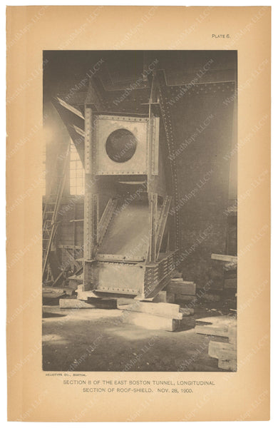 BTC Annual Report 07, 1901 Plate 06: East Boston Tunnel, Roof Shield Section