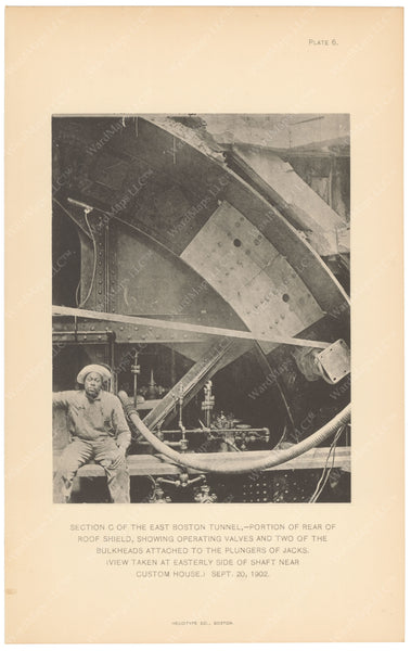 BTC Annual Report 09, 1903 Plate 06: East Boston Tunnel, Rear of Roof Shield