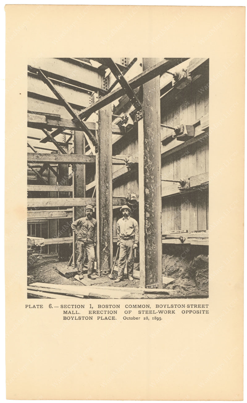 BTC Annual Report 02, 1896 Plate 06: Steelwork at Boylston Street Mall