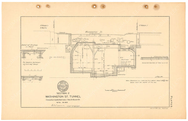 BTC Annual Report 11, 1905 Plate 06: Washington Street Tunnel Cross Section at Boylston Station