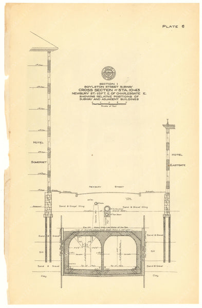 BTC Annual Report 20, 1914 Plate 06: Boylston Street Subway Section at Charlesgate