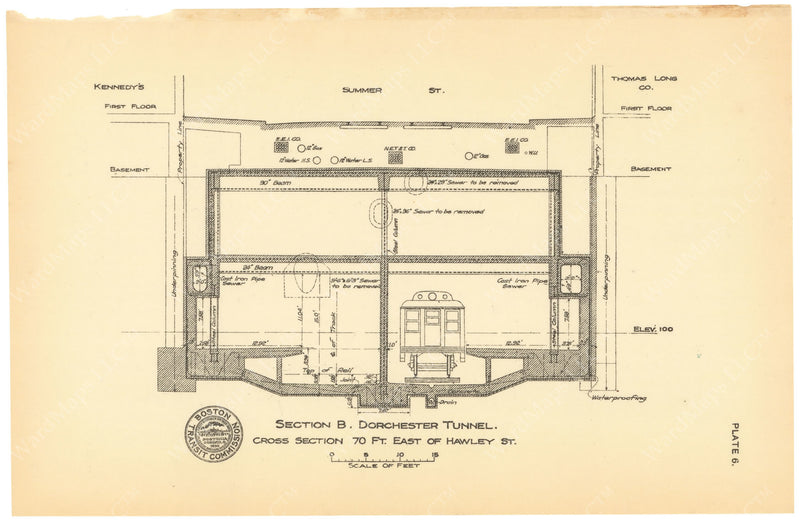 BTC Annual Report 19, 1913 Plate 06: Washington Station Cross Section
