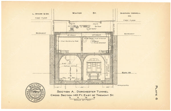 BTC Annual Report 18, 1912 Plate 06: Dorchester Tunnel, Cross Section at Winter Street