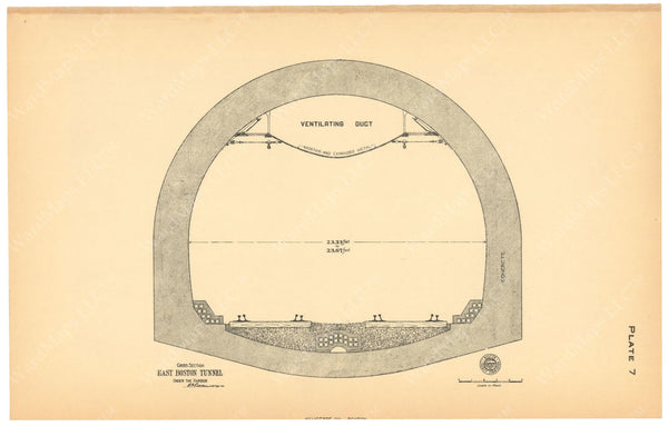 BTC Annual Report 10, 1904 Plate 07: East Boston Tunnel Cross Section Showing Ventilating Duct