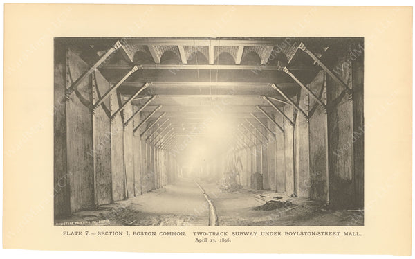 BTC Annual Report 02, 1896 Plate 07: Two Track Subway Under Boylston Street Mall