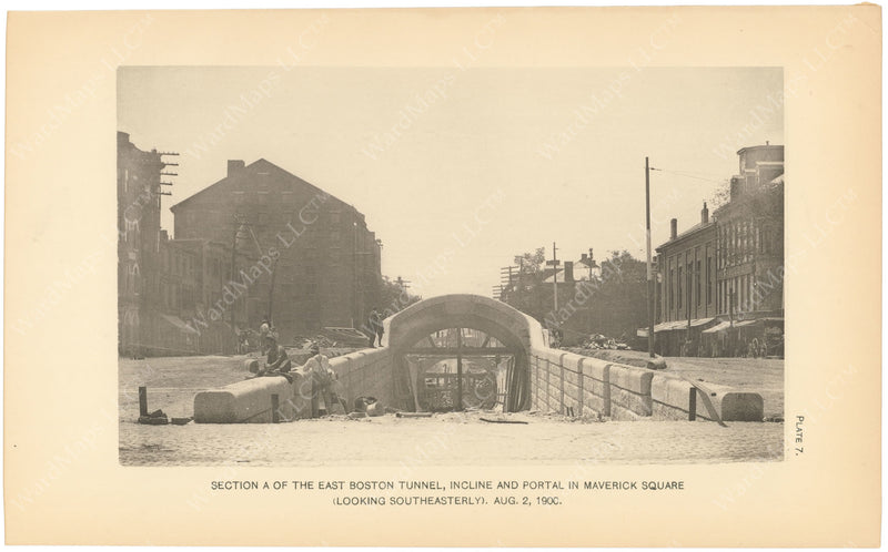 BTC Annual Report 06, 1900 Plate 07: East Boston Tunnel, Maverick Square Portal