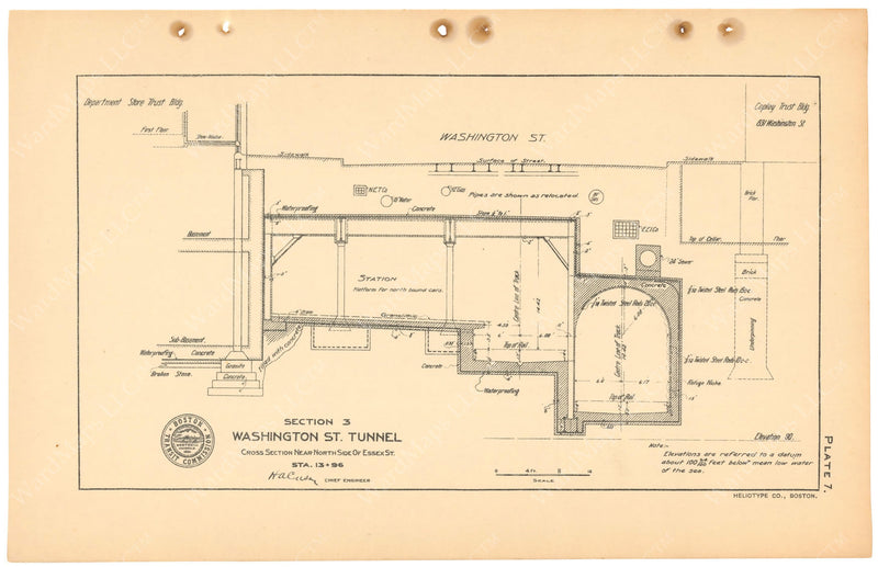 BTC Annual Report 11, 1905 Plate 07: Tunnel Cross Section at Essex Station