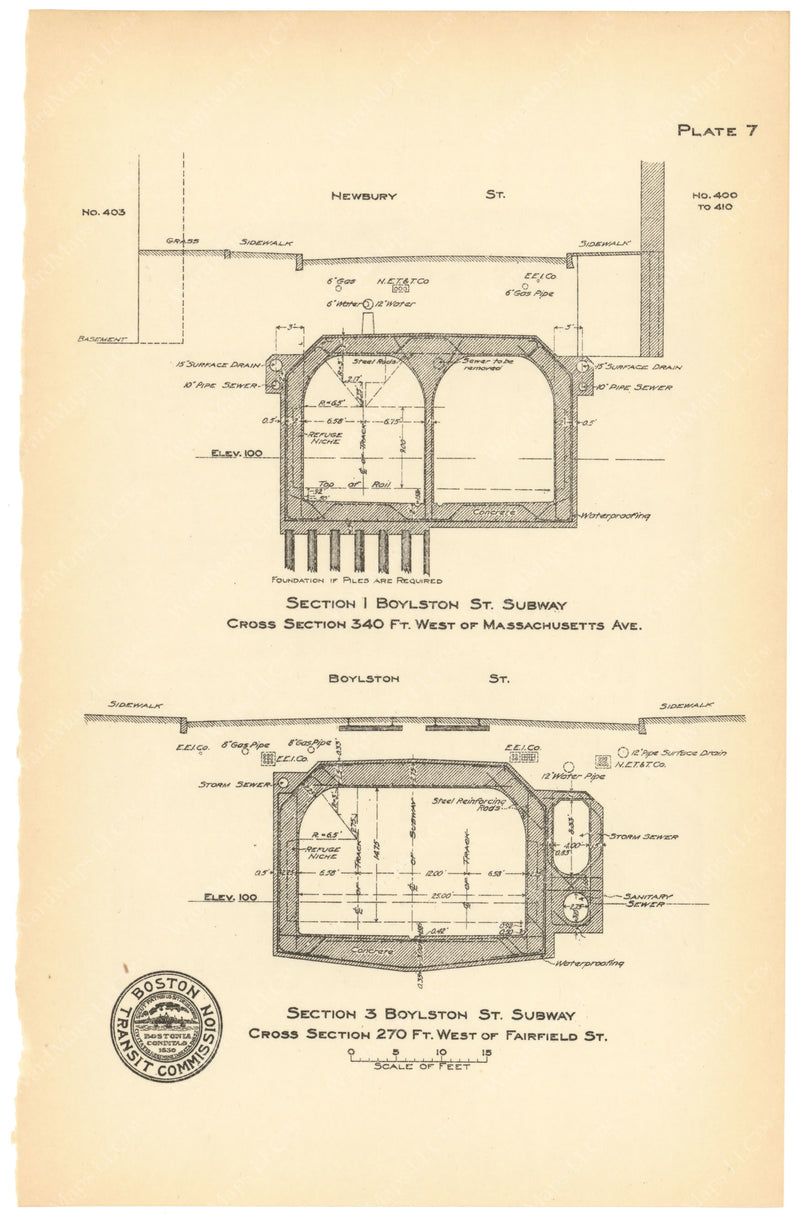 BTC Annual Report 18, 1912 Plate 07: Boylston Street Subway Cross Sections