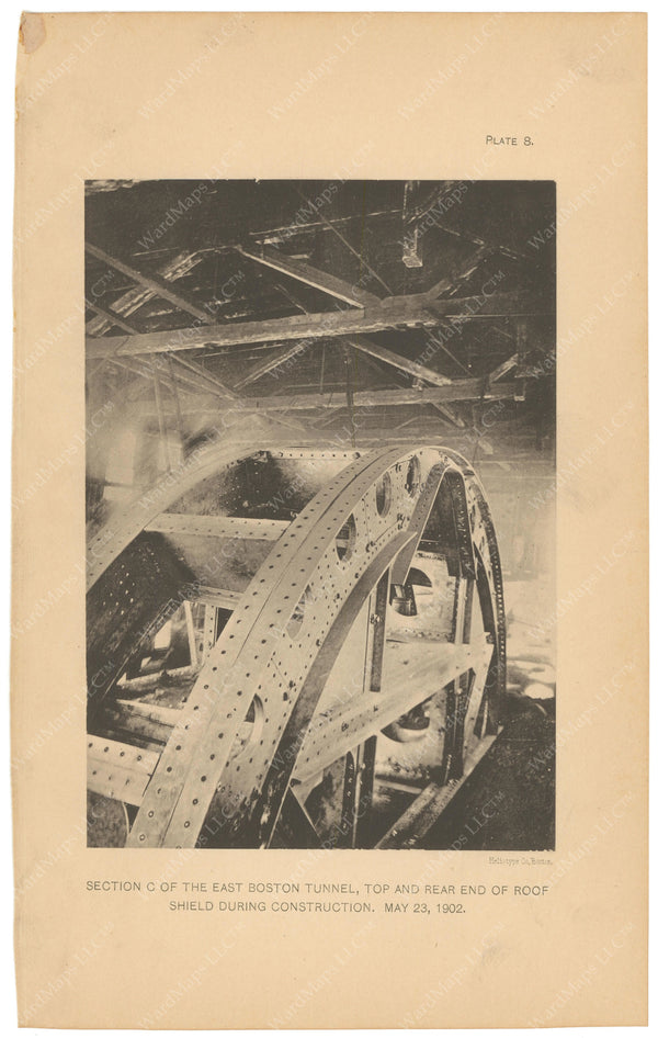 BTC Annual Report 08, 1902 Plate 08: East Boston Tunnel, Roof Shield During Construction