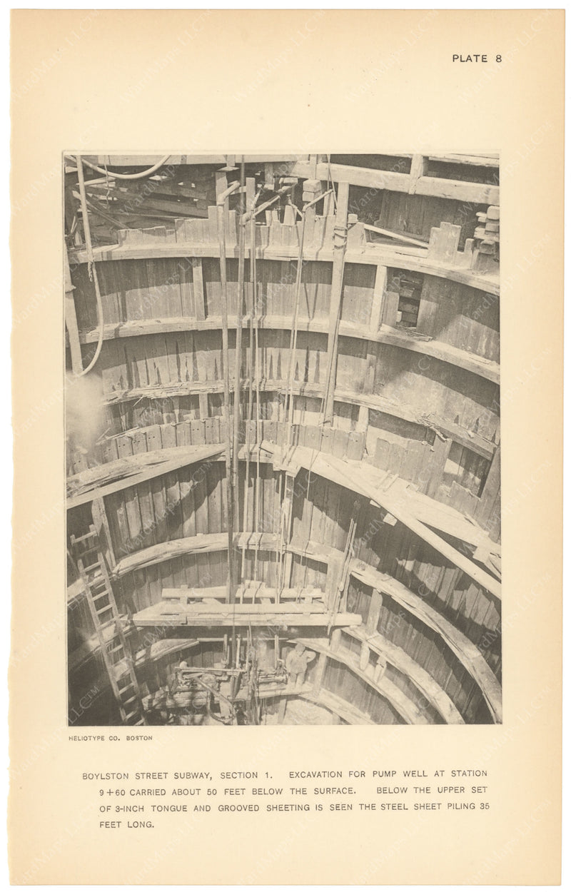BTC Annual Report 18, 1912 Plate 08: Boylston Street Subway, Excavation for Pump Well