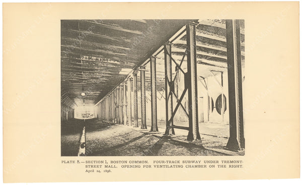 BTC Annual Report 02, 1896 Plate 08: Construction at Four Track Subway