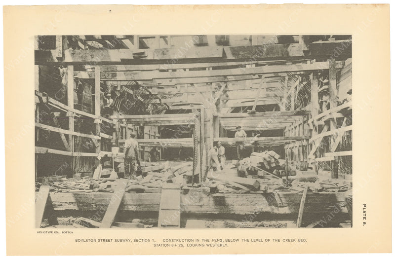 BTC Annual Report 19, 1913 Plate 08: Boylston Street Subway, Construction in Fens
