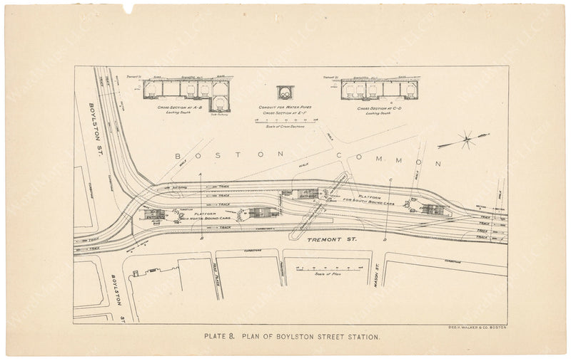 BTC Annual Report 04, 1898 Plate 08: Plan of Boylston Street Station