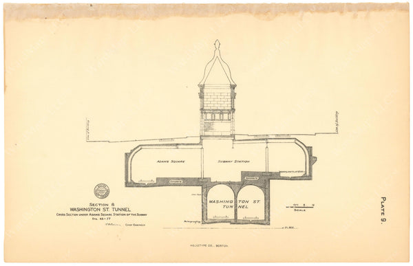 BTC Annual Report 12, 1906 Plate 09: Adams Square Station Cross Section