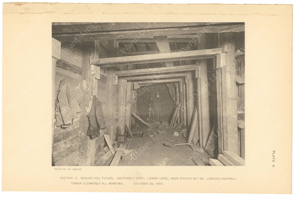 BTC Annual Report 17, 1911 Plate 09: Beacon Hill Tunnel, South Lower Drift