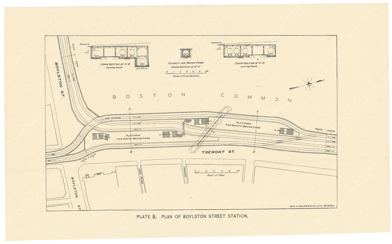 BTC Annual Report 02, 1896 Plate 09: Plan of Boylston Street Station