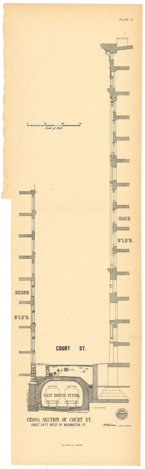 BTC Annual Report 10, 1904 Plate 09: East Boston Tunnel Cross Section at Court Street
