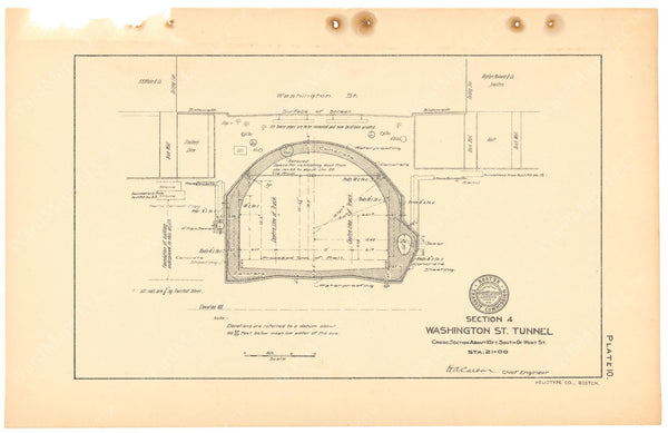 BTC Annual Report 11, 1905 Plate 10: Tunnel Cross Section at West Street