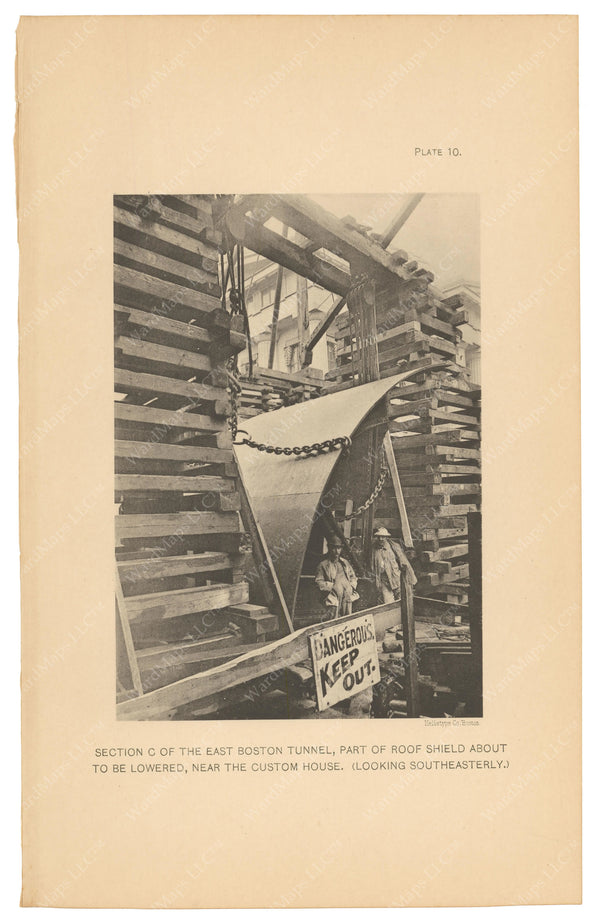 BTC Annual Report 08, 1902 Plate 10: East Boston Tunnel Roof Shield To Be Lowered
