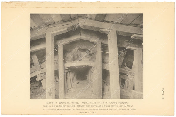 BTC Annual Report 17, 1911 Plate 10: Beacon Hill Tunnel Excavation