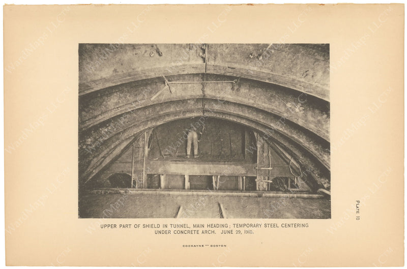 BTC Annual Report 16, 1910 Plate 10: Beacon Hill Tunnel, Upper Part of Shield