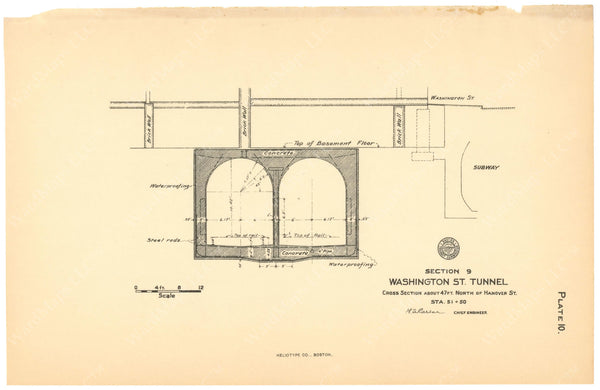 BTC Annual Report 12, 1906 Plate 10: Washington Street Tunnel Cross Section
